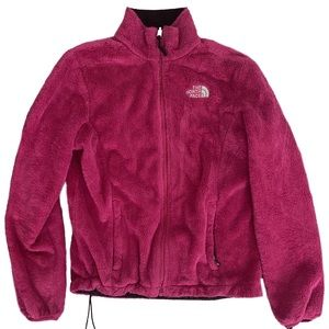 Pink furry northface jacket